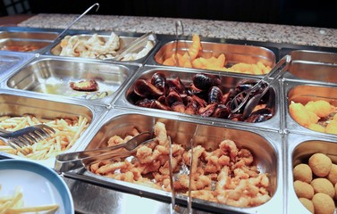 tray of fried foods in the Chinese restaurant take-away