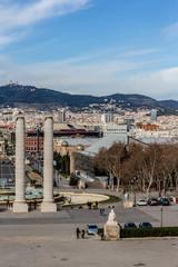Barcelon Panorama from National Palace. Barcelona, Spain.