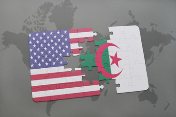 puzzle with the national flag of united states of america and algeria on a world map background.