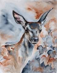 deer in the forest watercolor art