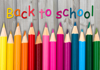 Pencil Crayons with text Back to School