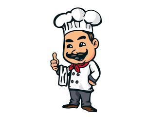 Modern Restaurant Chef Logo Cartoon - Italian Cuisine Pasta Chef