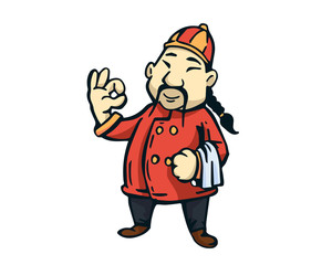 Modern Restaurant Chef Logo Cartoon - Chinese Restaurant Head Chef