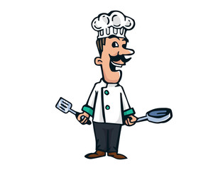 Modern Restaurant Chef Logo Cartoon - Experienced Mexican Food Chef