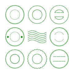 Set of green postal stamp and postmark