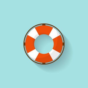 Lifebuoy in a flat style. Protection equipment for swimming. Summer sea holidays. Vector illustration.