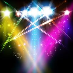 stage, light, spotlights, shine background easy all editable