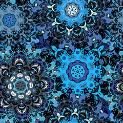 Deep blue colored seamless pattern with eastern floral orament. Floral oriental design in aztec, turkish, pakistan, indian, chinese, japanese style.