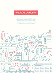 Medical Concept - line design brochure poster template A4