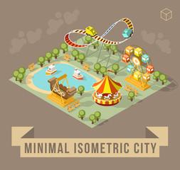 Set of Isolated Isometric Minimal City Elements. Theme Park with Shadows on Dark Background.