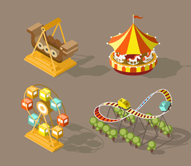 Set of Isolated Isometric Minimal City Elements. Theme Park with Shadows on Dark Background.