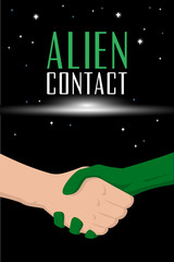 Man handshake with alien. Fantastic book brochure cover template