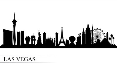 Las Vegas city skyline silhouette background Wall mural