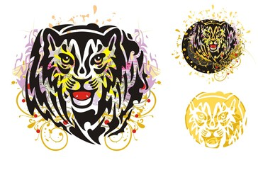 Grunge tribal tiger head splashes. Growling young tiger head splashes in a circle. Grunge orange and violet floral elements tiger head and roundish sunny tiger head