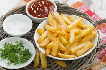 fried french fries with tomato sauce