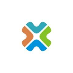 Colorful Healthcare Cross Square Logo