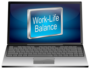 Laptop computer with Work Life Balance button - 3D illustration