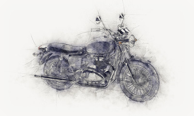 Rough pencil sketch of a motorbike