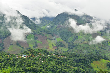 View of the village on the mountain