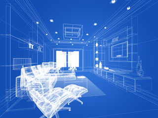 sketch design of living ,3d wire frame rendering
