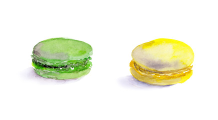 Macaroons french cake . Water color