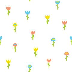 Pixel art style flower seamless vector pattern white
