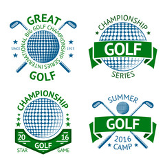 Vector set of Golf badges, logo templates, etc. With club and ball.