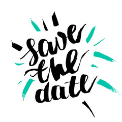 Vector artistic brush lettering composition. Phrase Save the date.  Hand drawing ink brush illustration