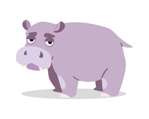 cute hippo on a white background. vector illustration