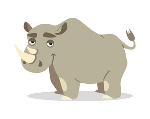 cheerful rhinoceros on a white background. vector illustration