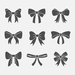 Bows with ribbons vector set