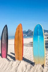 Surfboards in bright sun on the Ipanema beach, Rio de Janeiro, Brazil