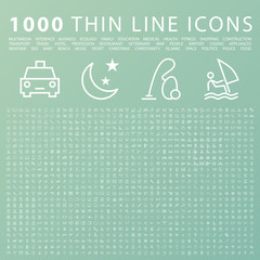 Set of 1000 Minimal Universal Modern Elegant White Thin Line Icons on Color Background.