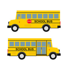 school bus in flat style side view isolated on white background