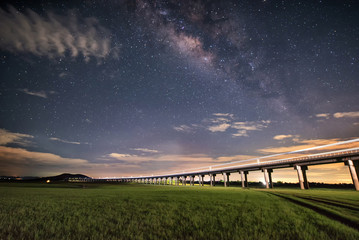 milky way with railway bridge