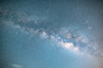 The milky way over blue sky