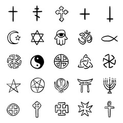 Vector Set of Black Doodle Religious Symbols