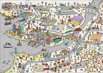 Winter Doodle town. Map drawn by hand. Vector. Isolated