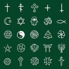 Vector Set of Chalk Doodle Religious Symbols