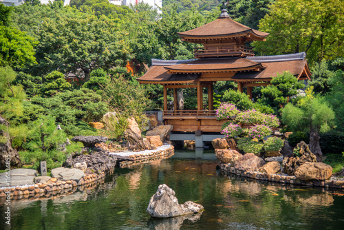 Wall mural Beautiful wooden pavilion Chinese style architecture in nanlian