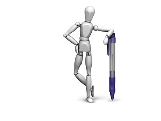 man standing with a pen