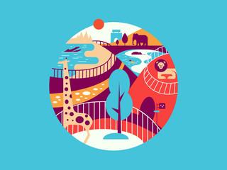 Zoo flat illustration