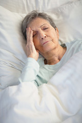 Senior woman having problems sleeping.
