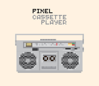 Pixel Magnetic cassette stereo Hi-Fi player, pixelated illustration. - Stock vector