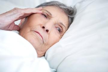 Senior woman sleeping.