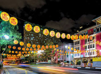 Singapore New Bridge Road in Chinatown decorated for New Year Fotomurales