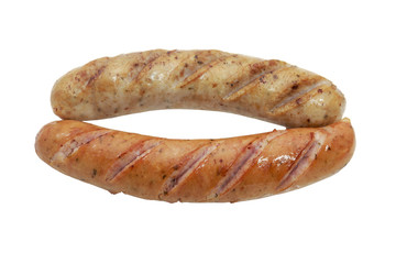 Fried smoked sausages or bratwurst isolated on white background