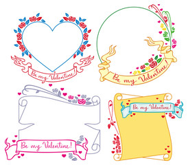 Set of Valentine day frames. Vector clip art.