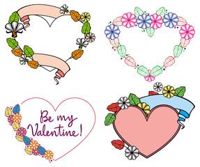 Set of color heart-shaped floral frames. Vector clip art.