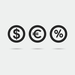 Set of icon coins.  Dollar and euro money symbol. Vector isolated illustration.